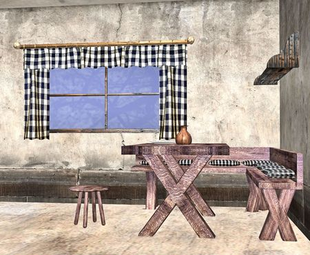 3d bungalow: A humble cottage with the bare essentials set out. Stock Photo