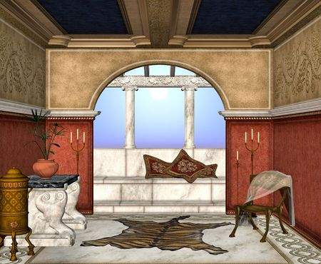 porch: A roman style room perfect for lazy days relaxing in the sun.