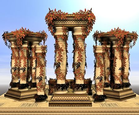 Large columns scattered with fall leaves and foliage.