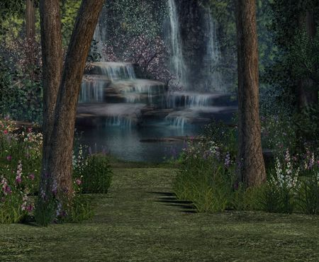 unrestricted: A secret waterfall in the midst of the deep forest.