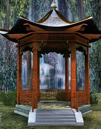 A japanese style lotus pavilion backed with a lush jungle and water-fall. Фото со стока