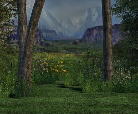 backwoods: A beautiful mountain valley with spring flowers and soft green grass. Stock Photo