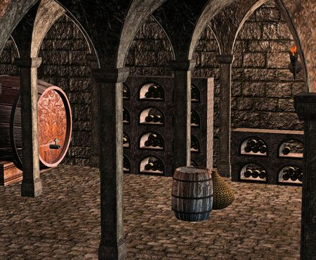 A dark and musty wine cellar full of casks, barrels and bottles of wine. Imagens