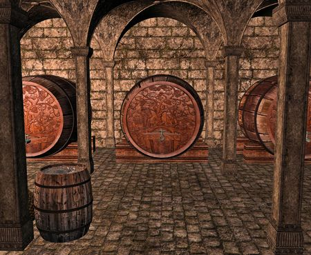 cellar: A dark and musty wine cellar full of casks, barrels and bottles of wine. Stock Photo