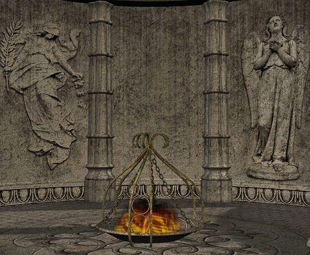 ゴシック ローマの墓柱によって支持されます。