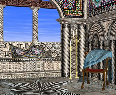 porch chair: A roman style room with intricately carved stone and stained glass perfect for lazy days relaxing in the sun.
