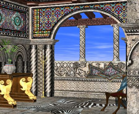sunroom: A roman style room with intricately carved stone and stained glass perfect for lazy days relaxing in the sun.