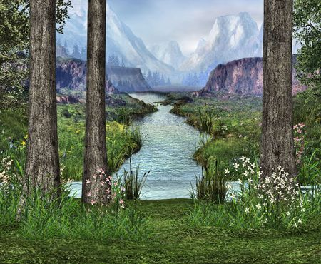 backwoods: At the edge of a clearing in the woods overlooking a river running straight from the mountains. Stock Photo