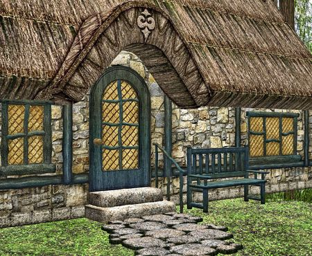 thatched: A little fairytale cottage in the woods.
