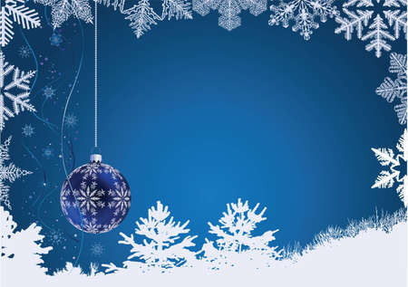 Winter blue background with snowflakes a sphere Vector