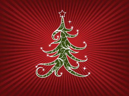 Christmas tree on a red stripes background Vector