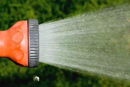 garden hose sprinkler spraying water Stock Photo