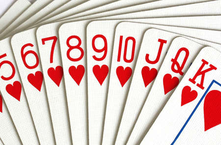 deck of hearts playing cards Stock Photo