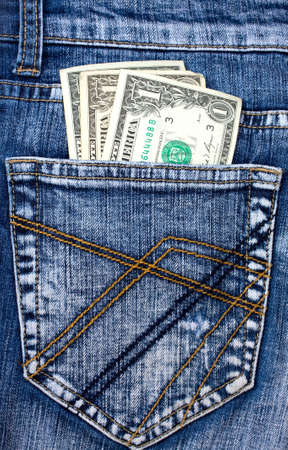 pocket money in jeans back pocket