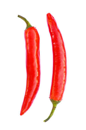 Two red chilli peppers isolated on white Stock Photo