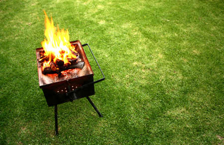hot grill: barbecue fire on a lawn