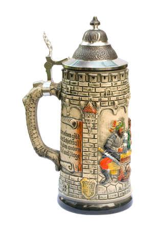 stein: Decorative ceramic German beer stein isolated on white