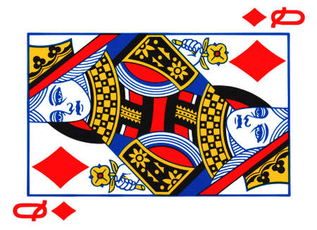 queen of diamonds: Queen of diamonds playing card Stock Photo