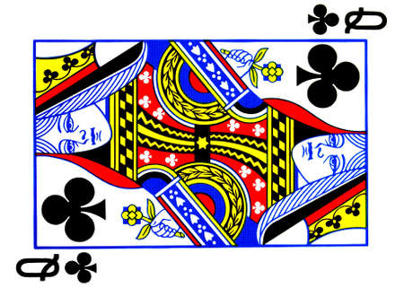 Queen of clubs playing card Stock Photo