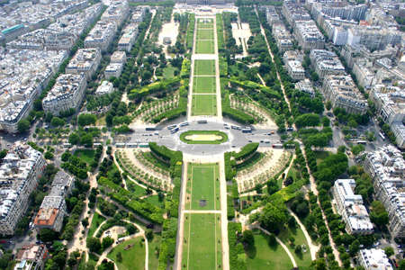 View of the city of Paris from the Eiffel Tower, France photo
