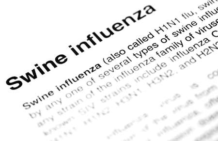Swine flu or N1H1 virus text with definition photo