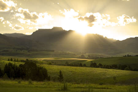 Sunset over Drakensberg mountains, South Africa photo