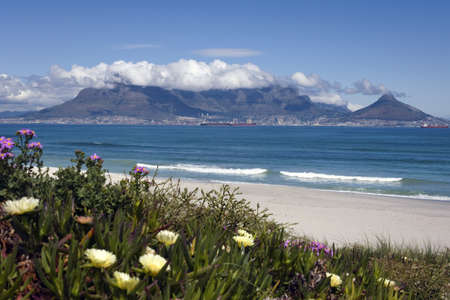 water town: View of Cape Town and table mountain from Bloubergstrand, South Africa