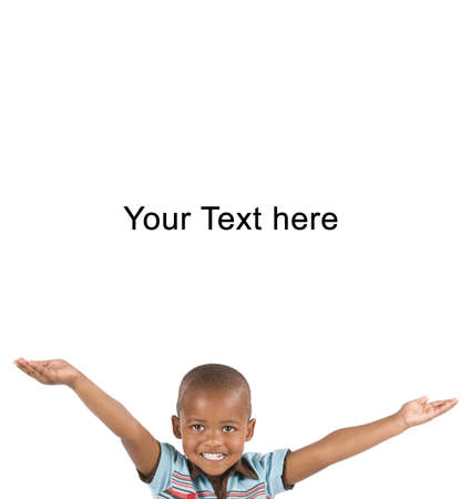 big smile: Adorable 3 year old black or African American boy with a big smile hands in the air looking at you with space for your text