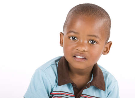 3 year old: Adorable 3 year old black or African American boy closeup and looking at you  Stock Photo