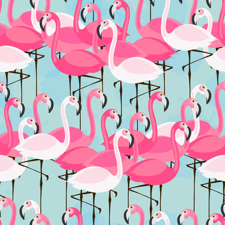 seamless pattern with pink and white flamingos on blue background
