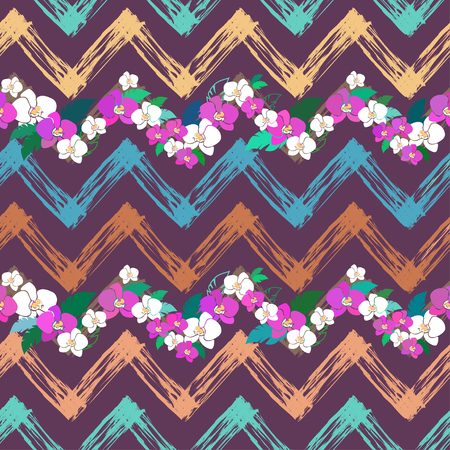 smeared: seamless pattern with zig-zag lines and orchids
