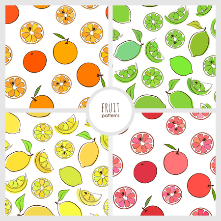 set of seamless pattern with ornage, lime, lemon and greipfruit