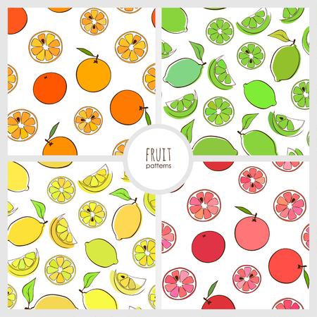 set van naadloze patroon met ornage, limoen, citroen en greipfruit Vector Illustratie