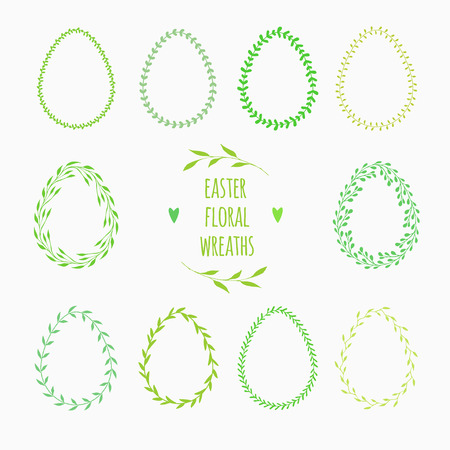 coronal: floral frames in shape of eggs for Easter decorations Illustration