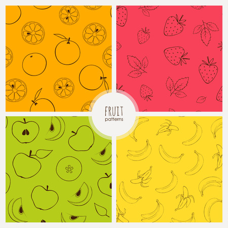 apples and oranges: seamless patterns with banans, oranges, starwberries and apples Illustration