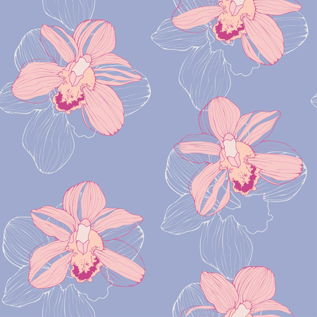 tender: seamless pattern with pink orchids, tender tropical background, floral seamless wallpaper in trendy colors Illustration