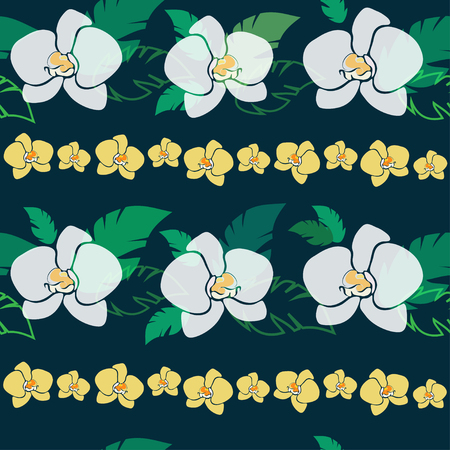 patter: tropical pattern with white and yellow orchids, seamless patter