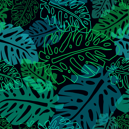 neon plant: dark pattern with neon palm leaves, seamless tropical pttern