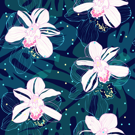white orchids: tropical pattern with white orchids Illustration
