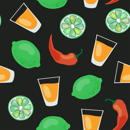 shots: seamless pattern with tequila shots, limes, salt and red pepper