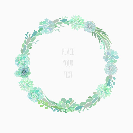 coronal: floral wreath made of succulents, vector floral wreath isolated on white