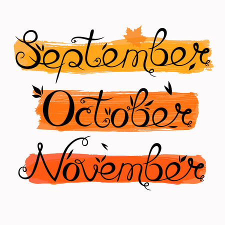 hand written lettering with autumn months, vector lettering