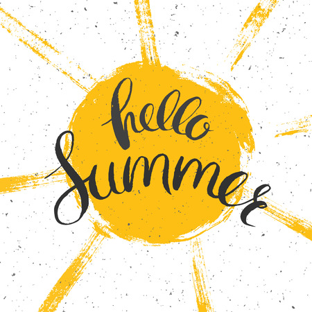 hello summer poster with hand drawn sun, vector summer poster with lettering