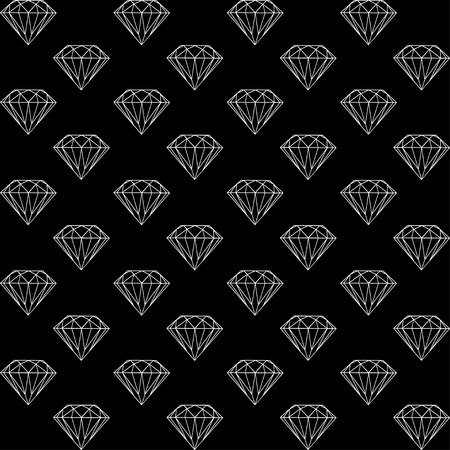 diamonds on black: vector seamless pattern with diamonds, black and white pattern with brilliants