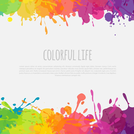 bright vector banner with colorful frame with paint splatters and stains