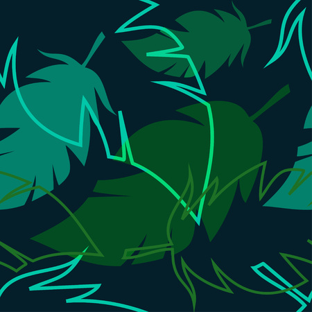 neon plant: dark tropical pattern with palm leaves, vector seamless pattern