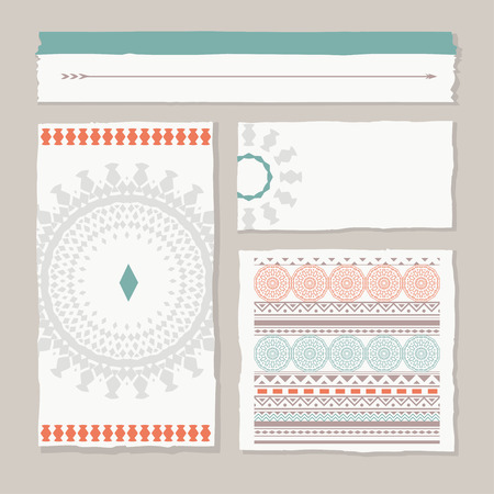 sacral: set of different tribal banners and templates, vector design Illustration