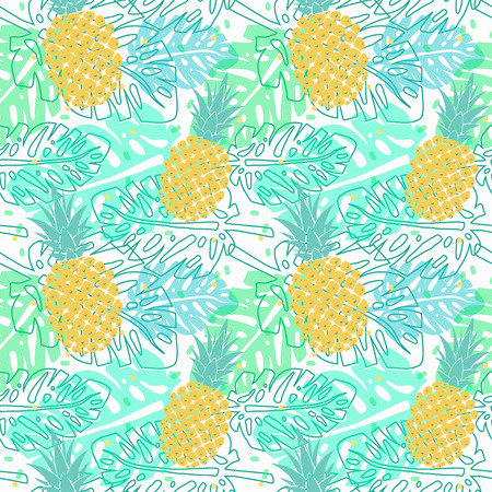 vector seamless pattern with pineapple and palm leaves, seamless tropical wrapping paper, summer design