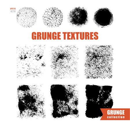 halftones: set of grunge textures and halftones, distresses abstract round and square textures, vector abstract noise
