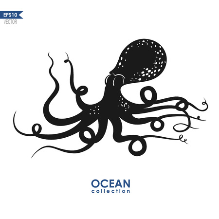 giant: giant squid isolated on white, vector octopus silhouette